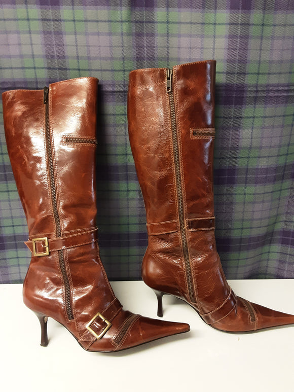 Moda in Pelle brown leather boots size 6