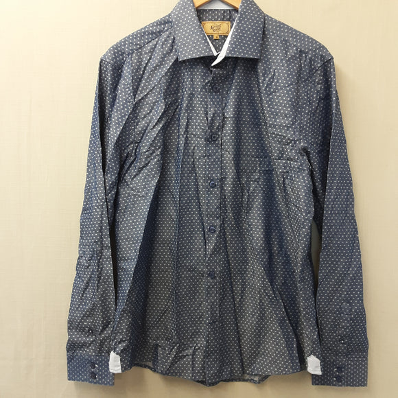 Mens Blue Antique Rogue  Long Sleeve Shirt Size 16''