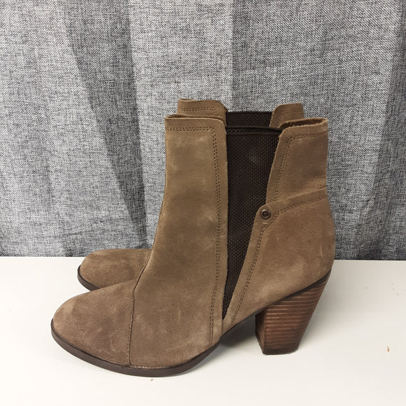 Indigo Brown Suede Heeled Boots Size 6.5