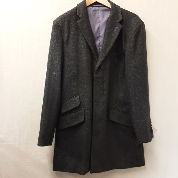 BNWT Mens Grey Harry Brown Wool Coat Size S