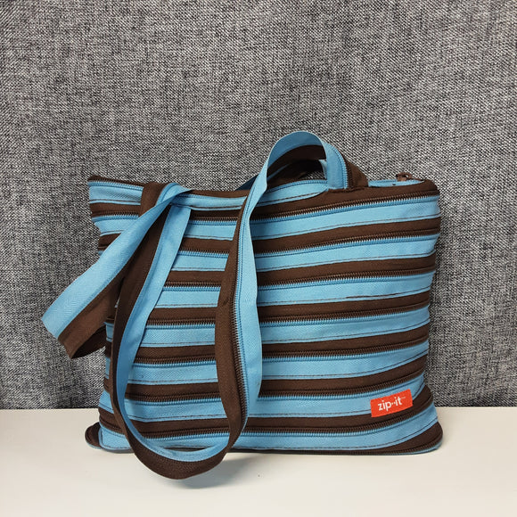 Brown and Blue Zip It Bag