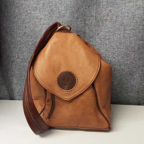 Vintage Giacomo Brown Leather Made in Italy Sling Rucksack