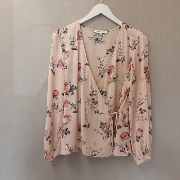 Peach Rose & Olive Blouse Size S