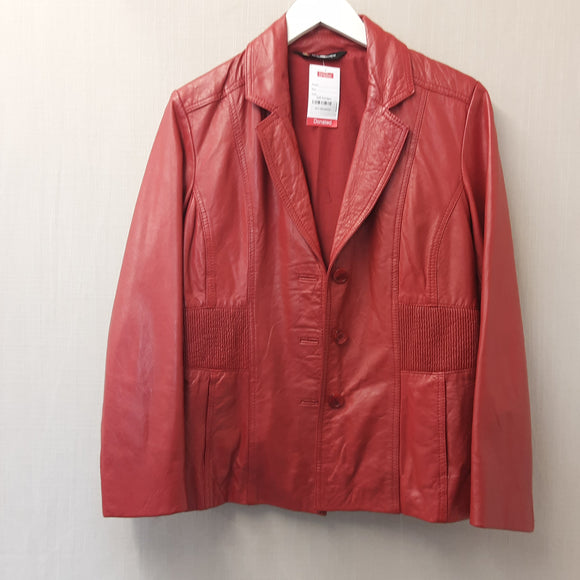 Red Leather Kaleidoscope Jacket Size 14
