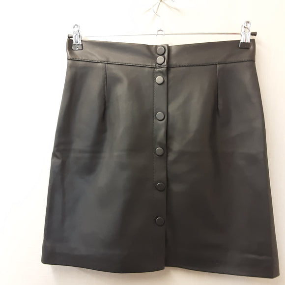 Black H&M Leather Look Skirt Size 14