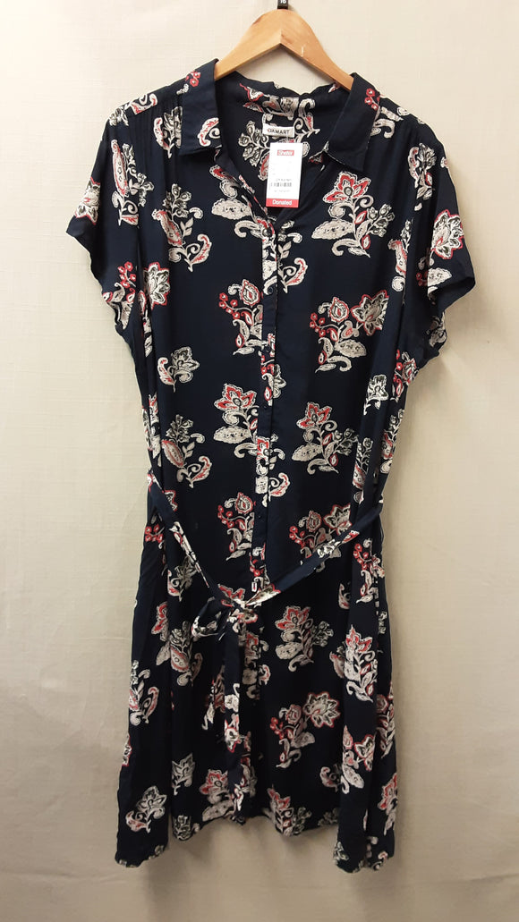 Navy Multi Damart Dress Size 16