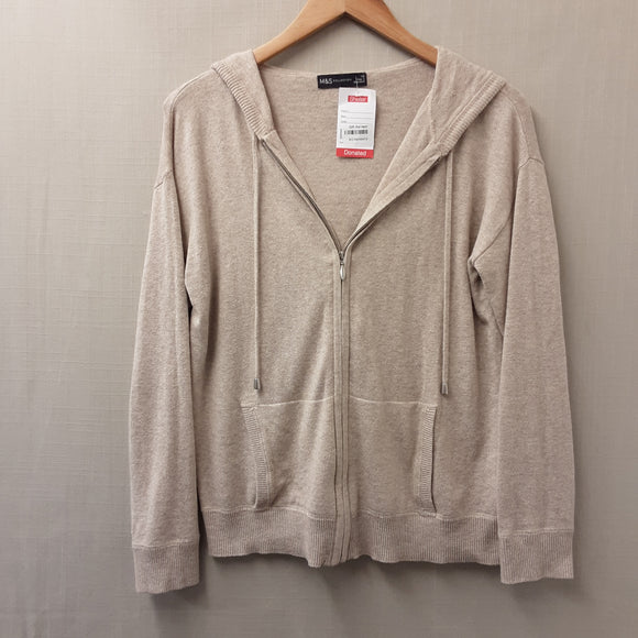 Beige M&S Zip Up Hooded Cardigan Size XS
