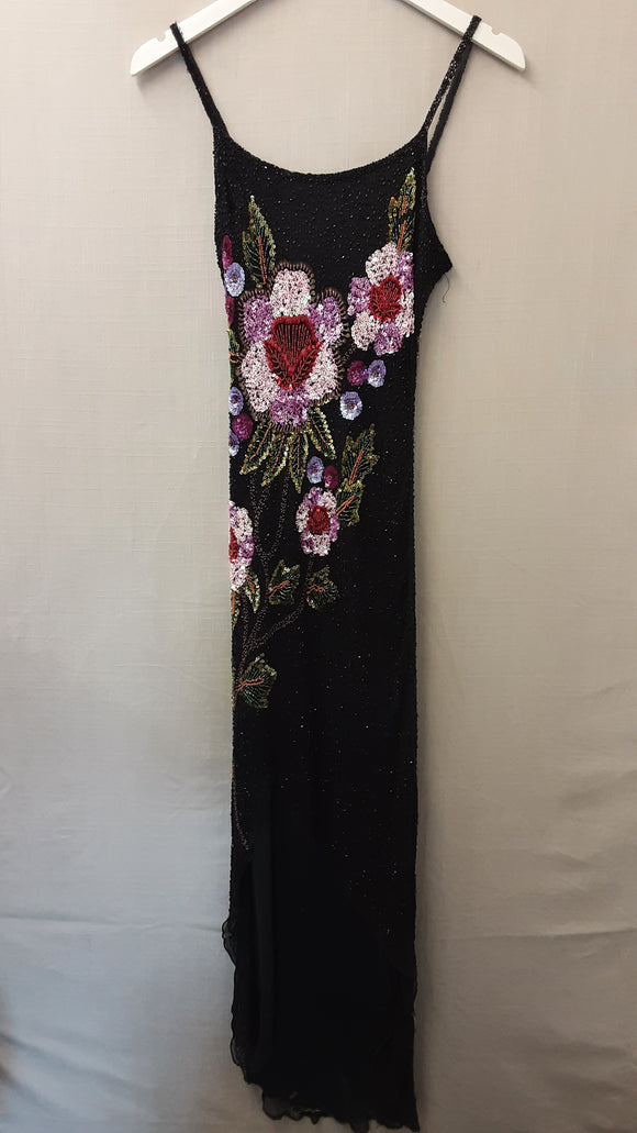 Black Sequined Silk Dress Size XS