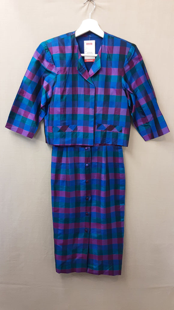 Blue Checked Jacket and Dress Set Size XS