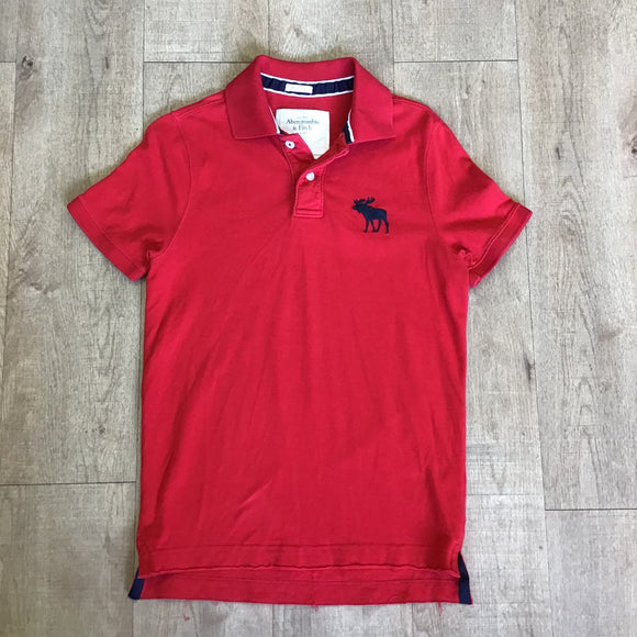 Abercrombie & Fitch Red 100% Cotton Muscle Polo Size M