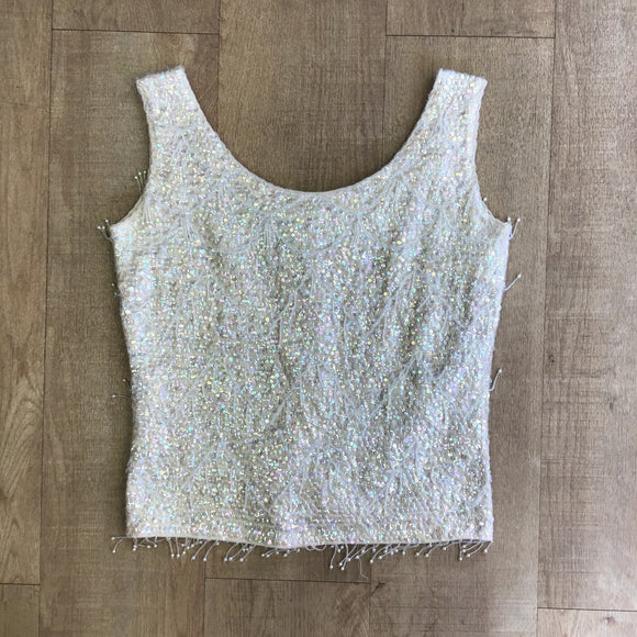 Vintage Marc Andrew Cream Wool Beaded Top Size S