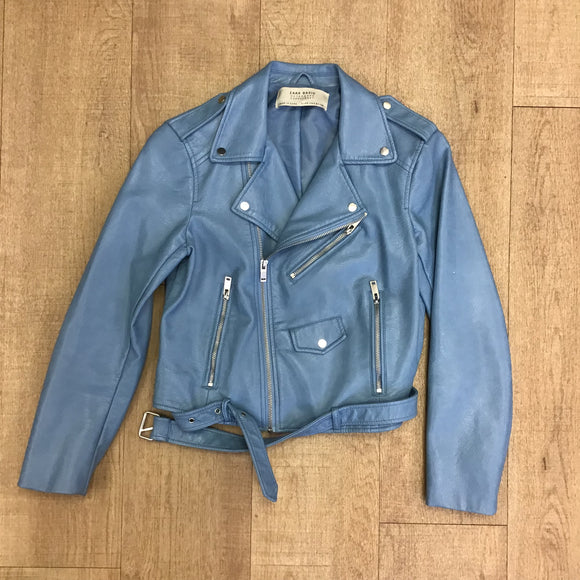 Zara Light Blue Biker Jacket Size S