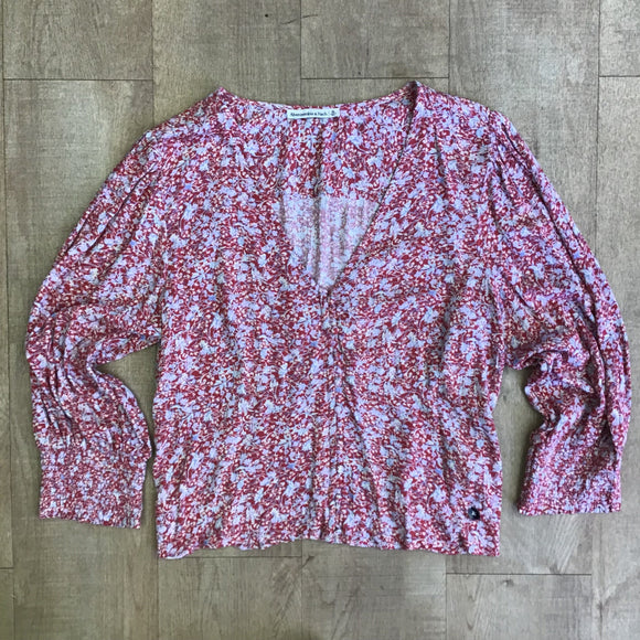 BNWOT Abercrombie & Fitch Red Floral Top Size XL