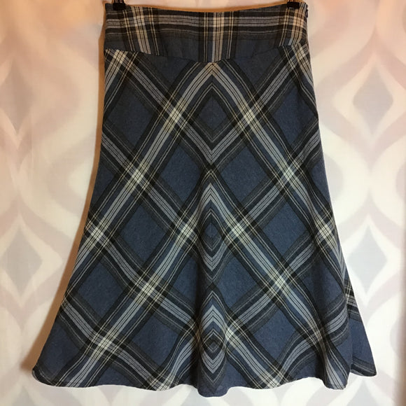 Monsoon Blue Check Skirt With Wool Size 12