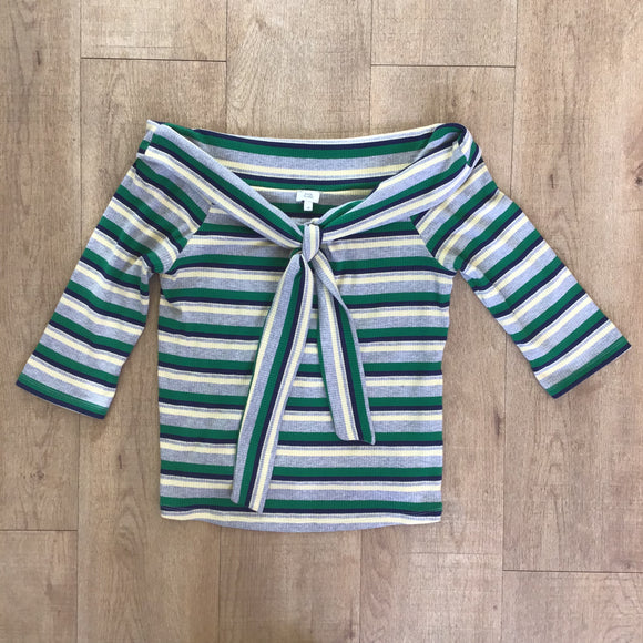 River Island Blue and Green Striped Top Size 14
