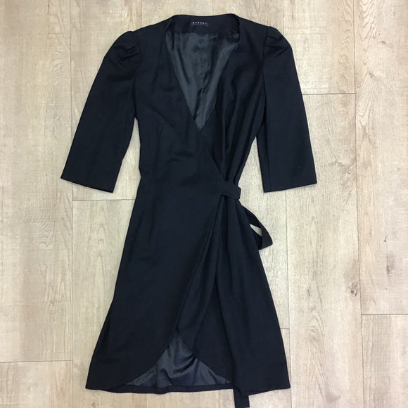 Sisley Black Wrap Dress Size S