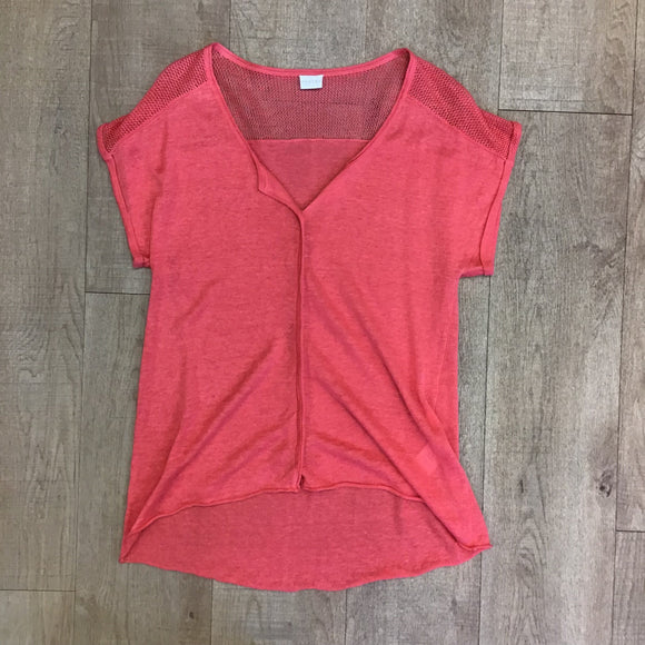 Poetry 100% Linen Coral Top Size 8
