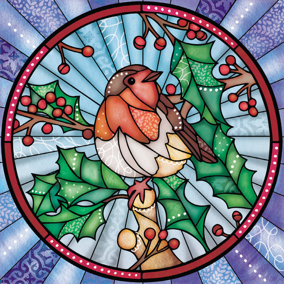 Stained Glass Robin Christmas cards, pack of 10