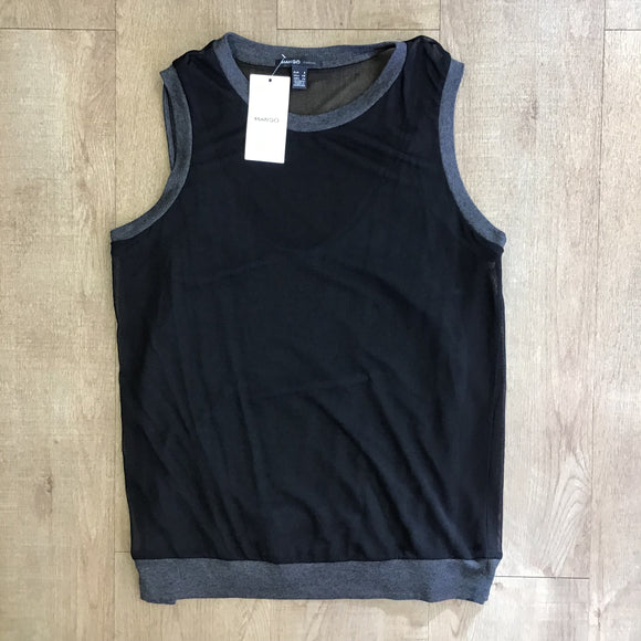 BNWT Mango Black and Grey Top Size S