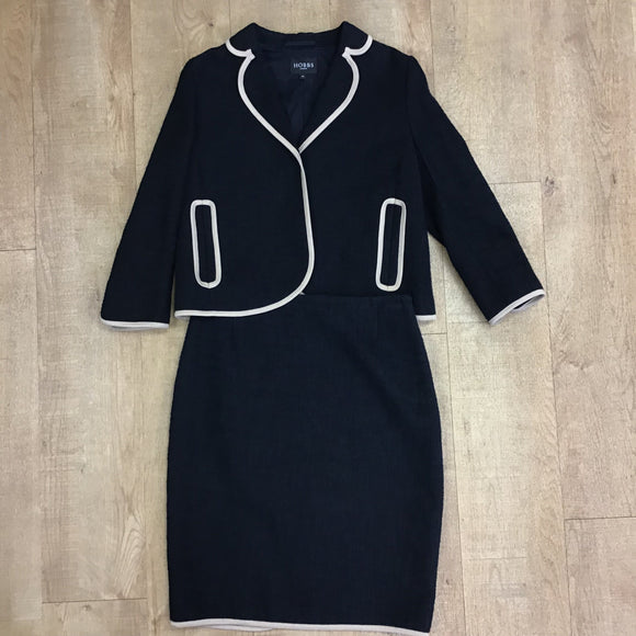 Hobbs Navy Blue Cotton Skirt Suit Size M