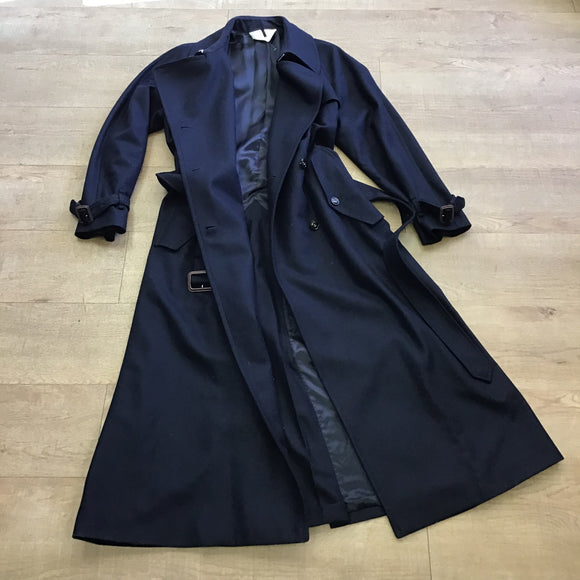 Arket Navy Blue Wool and Cashmere Trench Coat Size 16