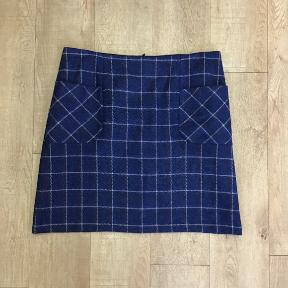 Laura Ashley Wool Blue Check Skirt Size 18