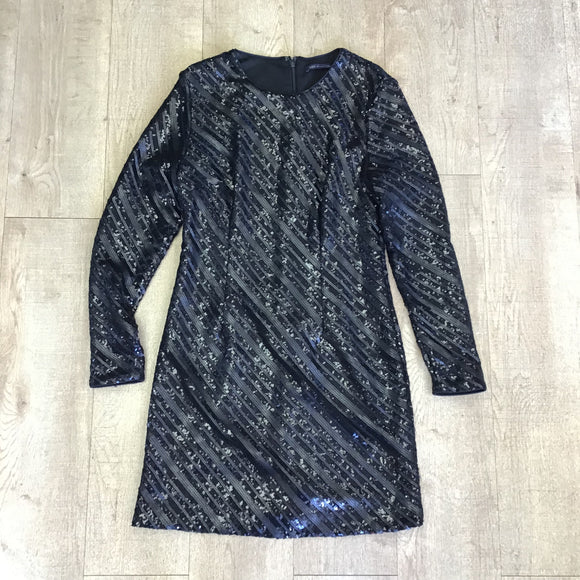M&S Black Sequinned Dress Size 14