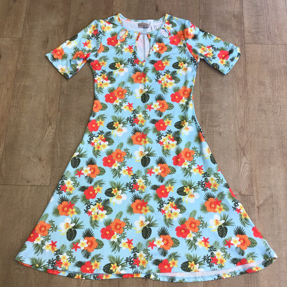 Lindy Bop Floral Stretch Dress Size 12