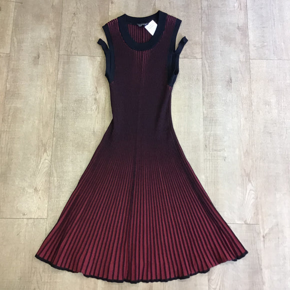 Topshop Red and Black Ribbed Knit Dress Size 12
