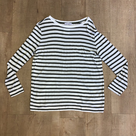 Per Una Khaki Stripe Top With Linen Size 12
