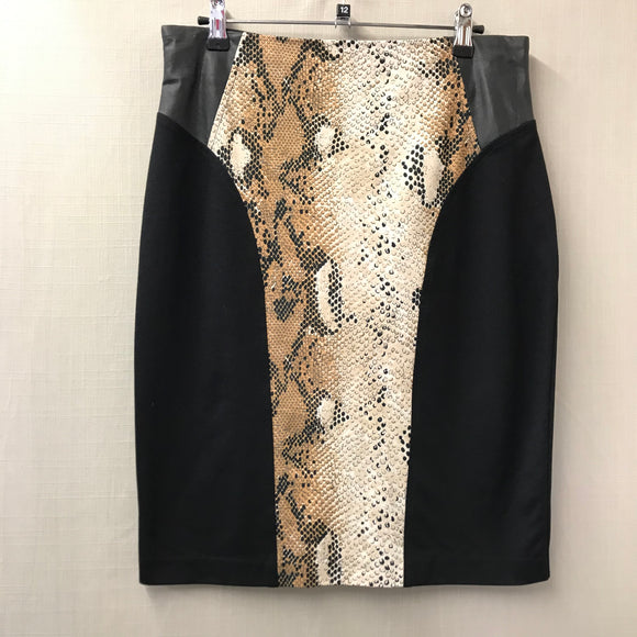 Black Animal Print Saopaulo Skirt Size 10