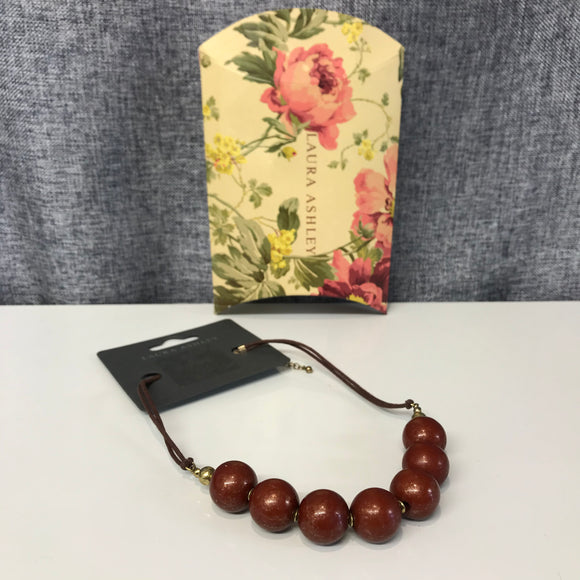 BNWT Brown Laura Ashley Bead Necklace