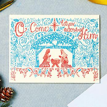 O Come Let Us Adore Him Shelter Charity Christmas Cards
