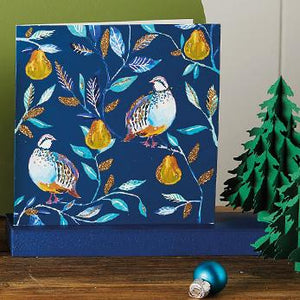 Opulent Partridges in a Pear Tree Shelter Charity Christmas Cards
