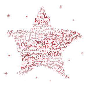 Star Christmas cards, pack of 10