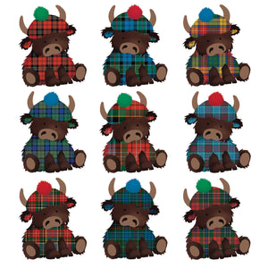 Parading Tartan Highland Cow Christmas cards, pack of 10