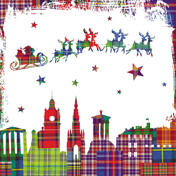 Tartan Edinburgh Christmas cards, pack of 10