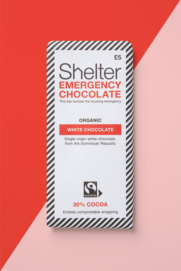 White Chocolate Bar Shelter charity Christmas gifts