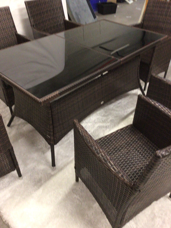 Rattan dining table with 6 chairs