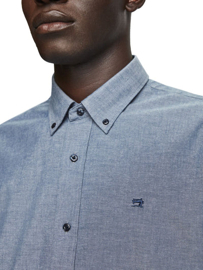 Scotch & Soda NOS Washed Chambray Shirt Regular Fit in Depp Blue 2677