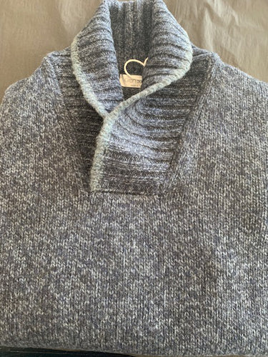 Gran Sasso Men's Lambswool Shawl Neck Knit in Blue