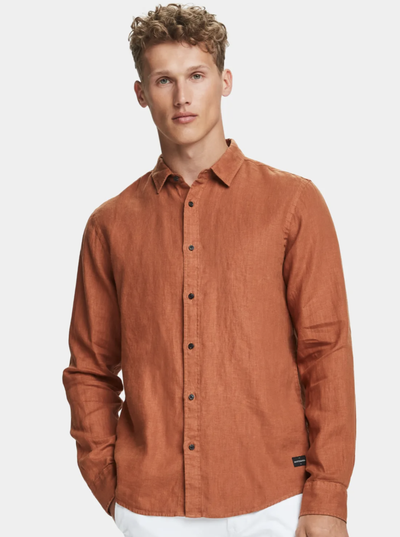Scotch & Soda Classic Linen Shirt in Russet Brown | Buster McGee Daylesford