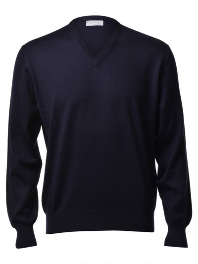 Gran Sasso Men's Extrafine Merino V-Neck Knit in Navy
