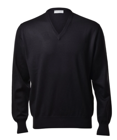 Gran Sasso Men's Extrafine Merino V-Neck Knit in Black