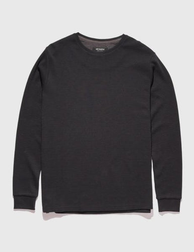 Mr Simple Waffle Long Sleeve Tee in Black Front Flat Shot