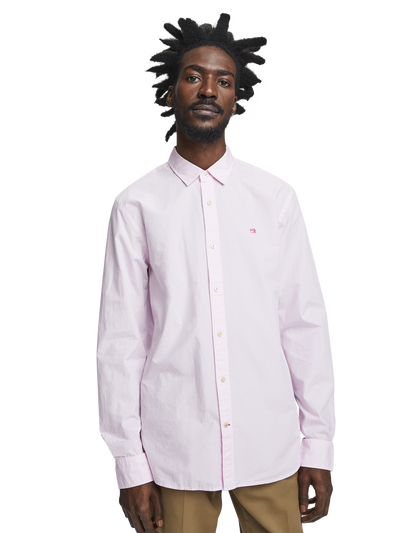 Scotch & Soda Garment Dyed Poplin Shirt in Hibiscus Pink