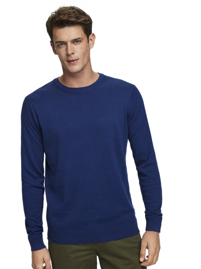 Ams Blauw Cotton Cashmere Crew Neck Pullover in Sacre Blue