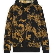 Scotch & Soda All Over Printed Hoody with Artwork Patch Front Shot 0217