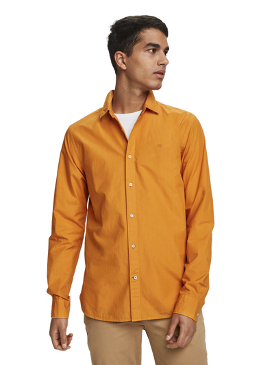 Scotch & Soda Garment Dyed Poplin Shirt in Ginger