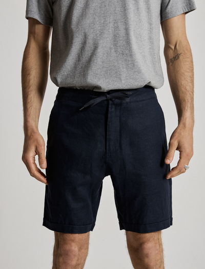 Mr Simple Tanner Linen Shorts in Navy | Buster McGee Daylesford